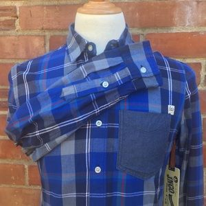 NWT JNCO Button Down Flannel Blue Red White Plaid